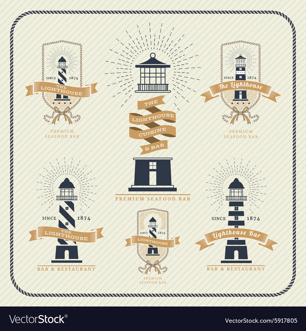 Vintage nautical lighthouse and ribbon labels set vector