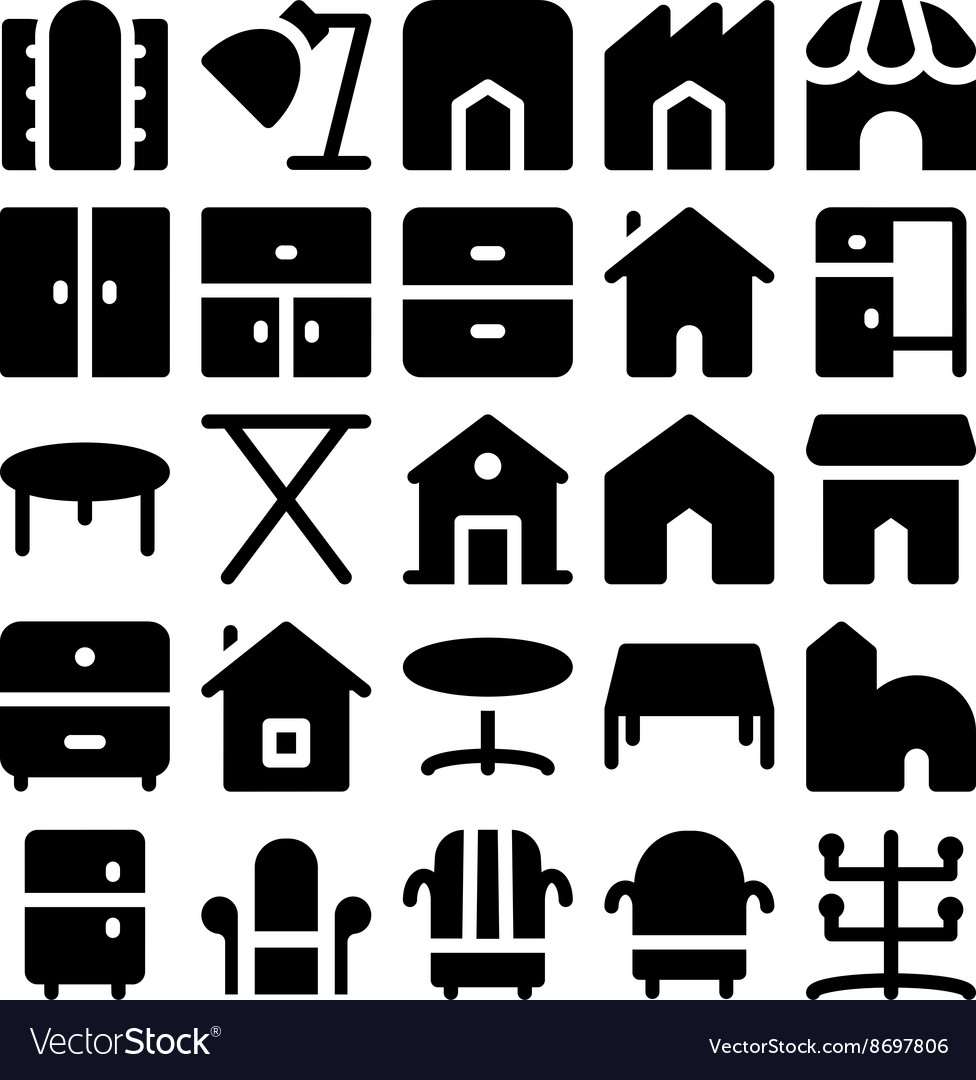 Building and furniture icons 14 vector
