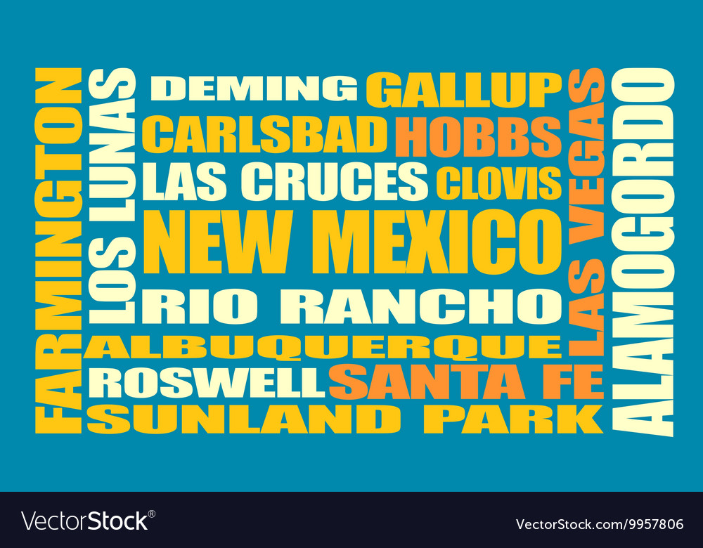 New mexico state cities list vector