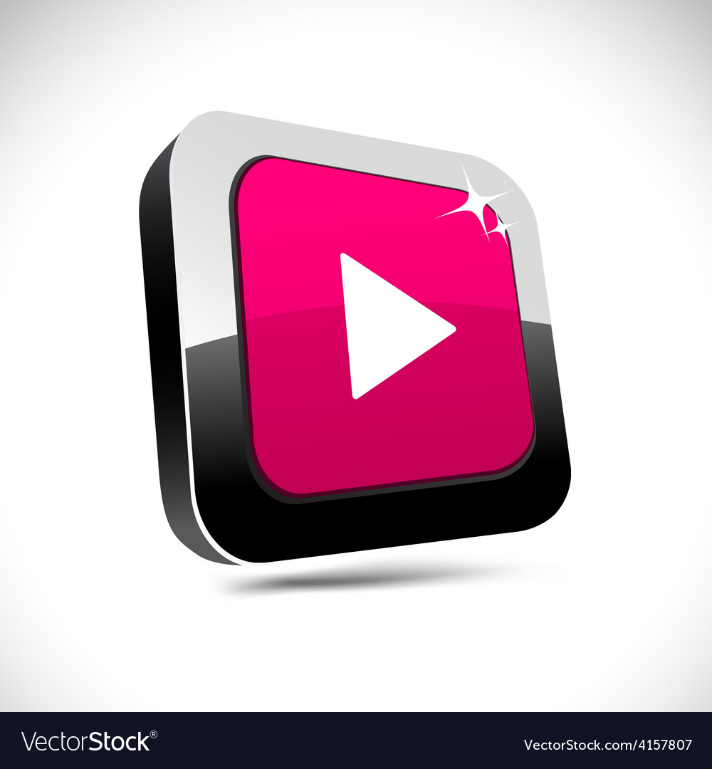 Play 3d square button vector