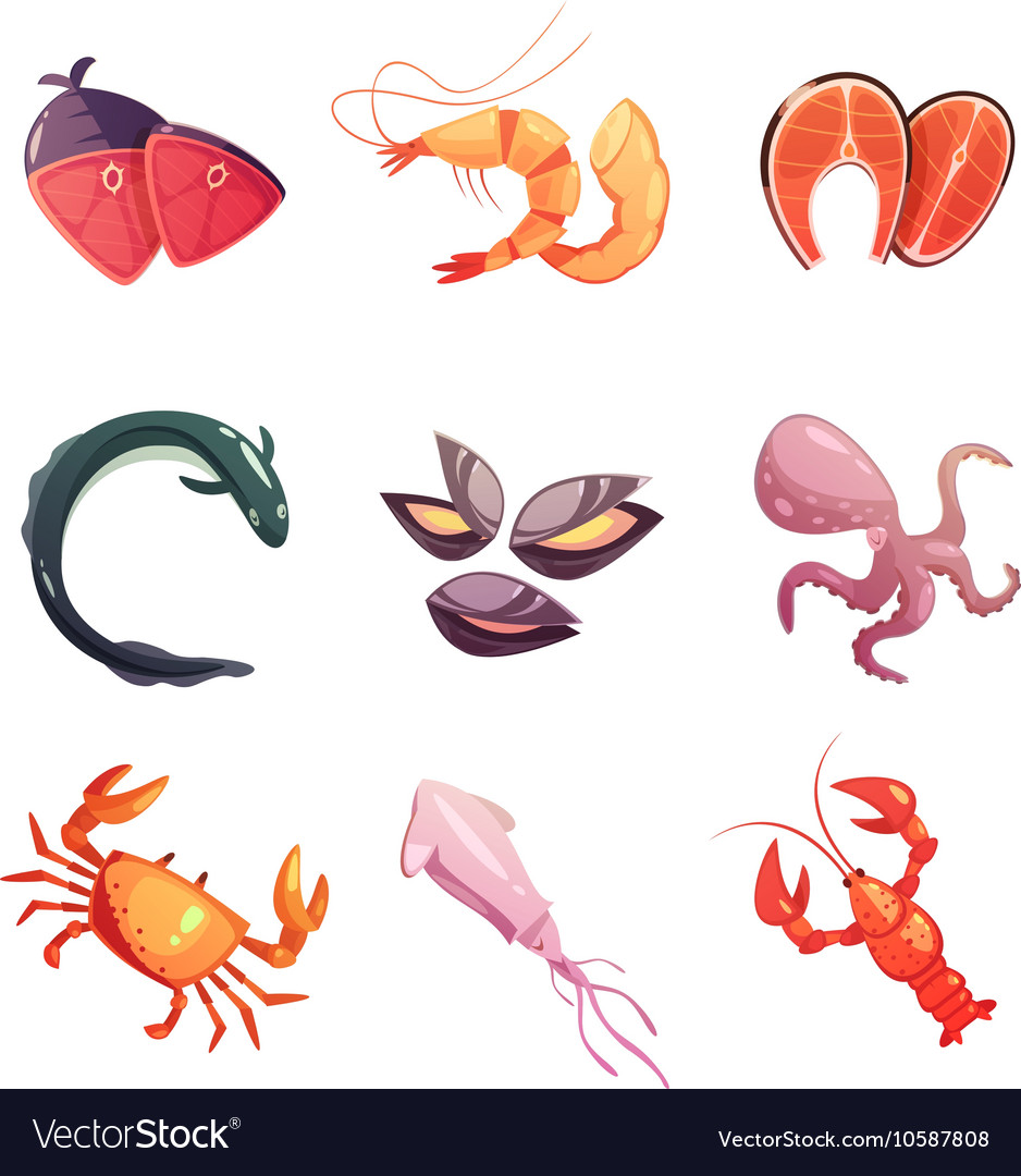 Sea food retro cartoon icons set vector