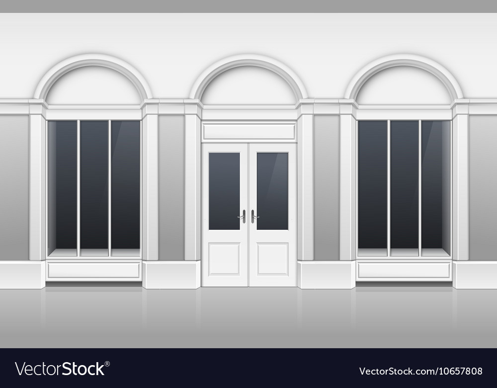 Shop building with glass showcase closed door vector