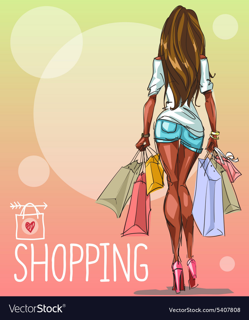 Young woman with shopping bags background with vector