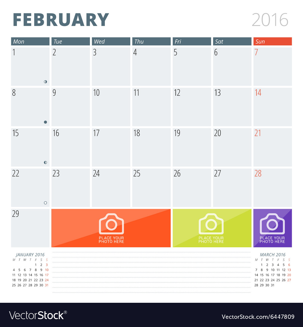 Calendar planner 2016 design template with place vector