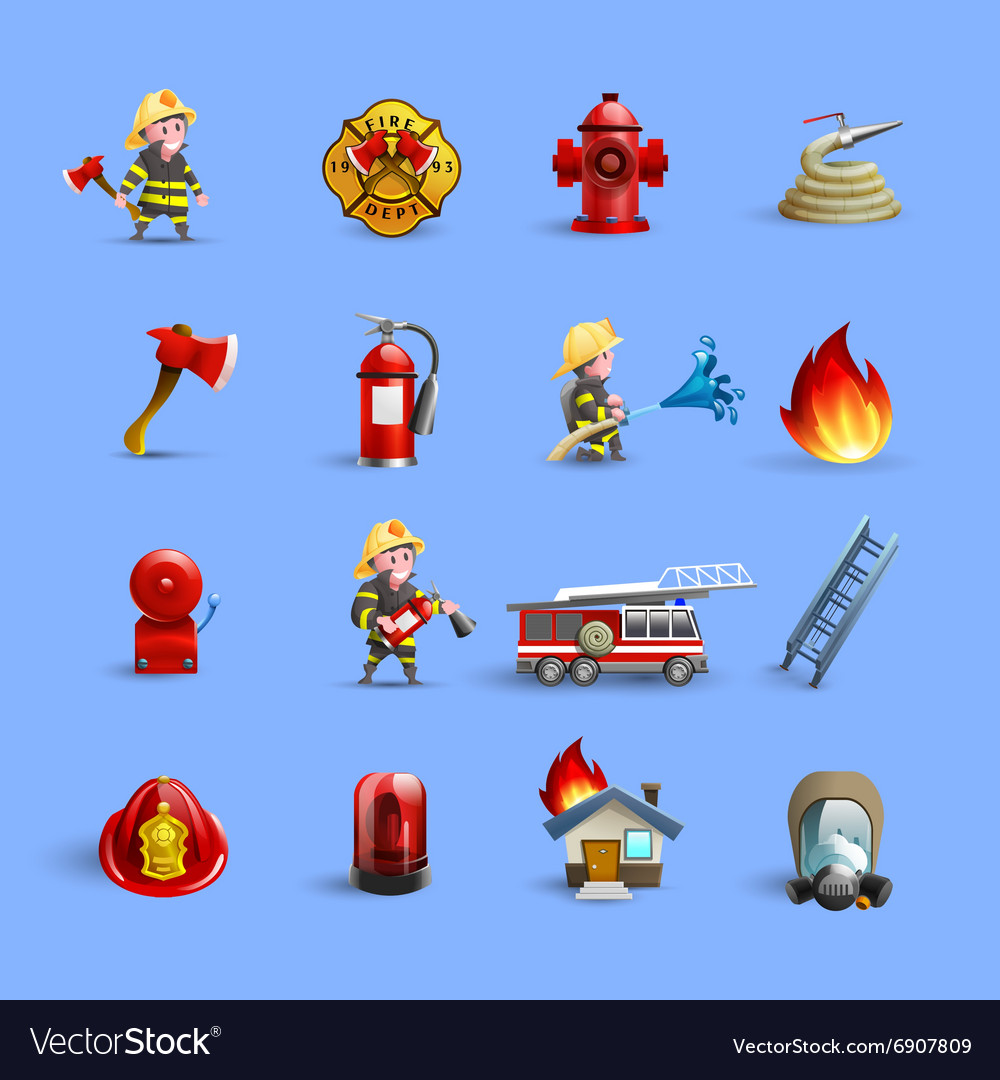 Firefighters cartoon icons red blue set vector
