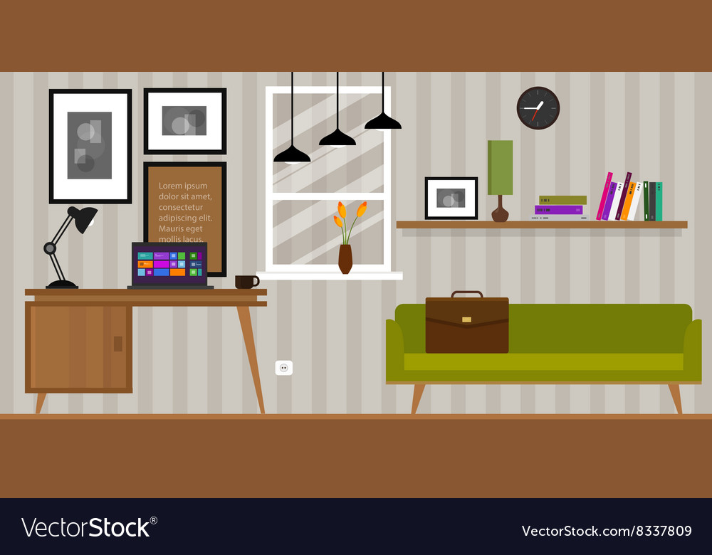 Home interior work space table and sofa vector