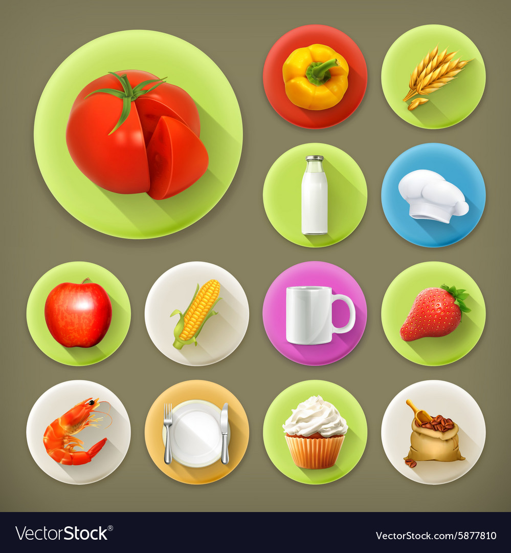 Kitchen and cooking long shadow icon set vector