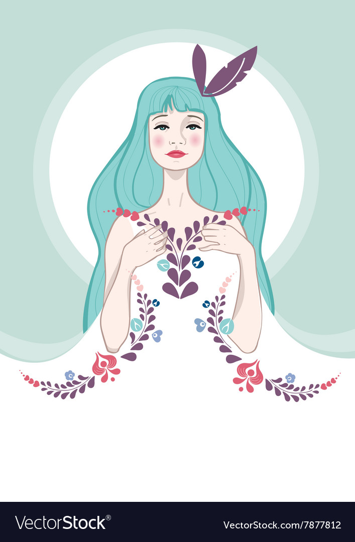 Beautiful girl with flowers on her dress vector