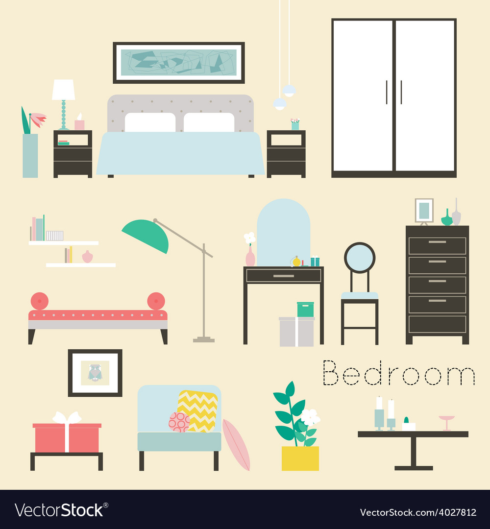 Bedroom furniture and accessories  modern bedroom vector