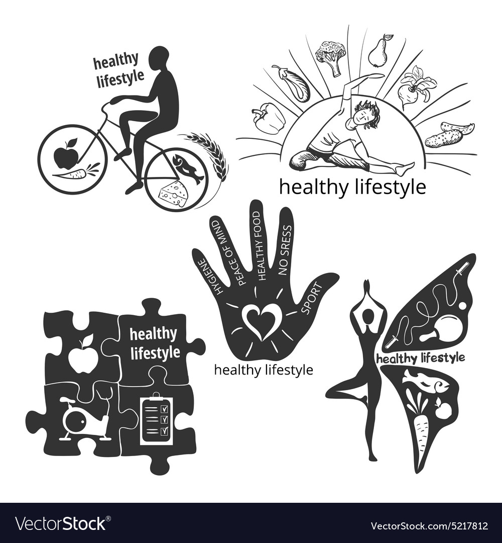 Set of icons healthy lifestyle vector