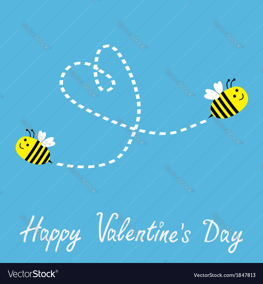 Two flying bees dash heart valentines day vector