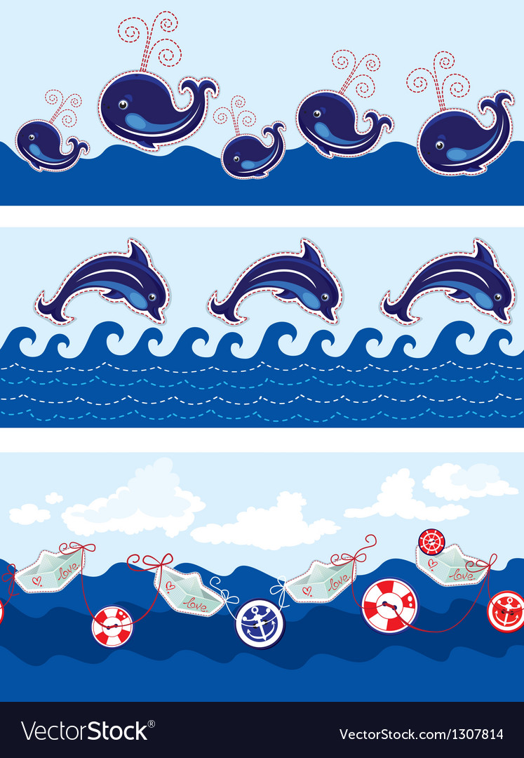 Set of seamless sea borders with dolphins whales vector