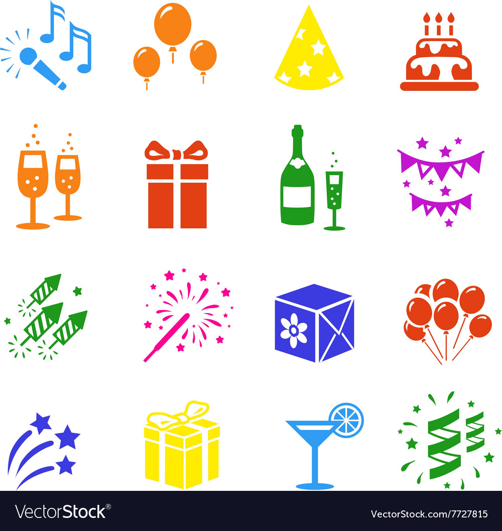 Icons set holidays party birthday colored vector