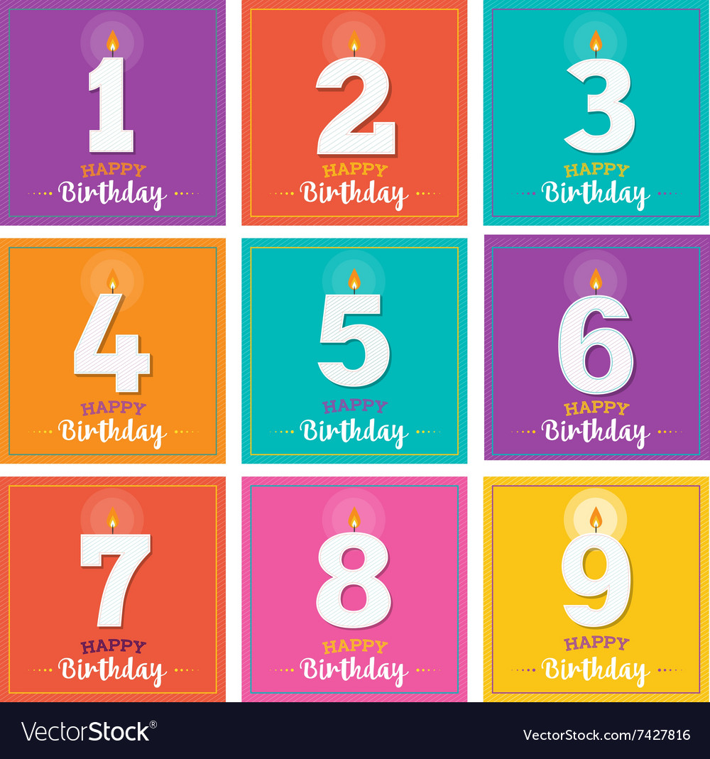 Happy birthday greeting card with candles vector