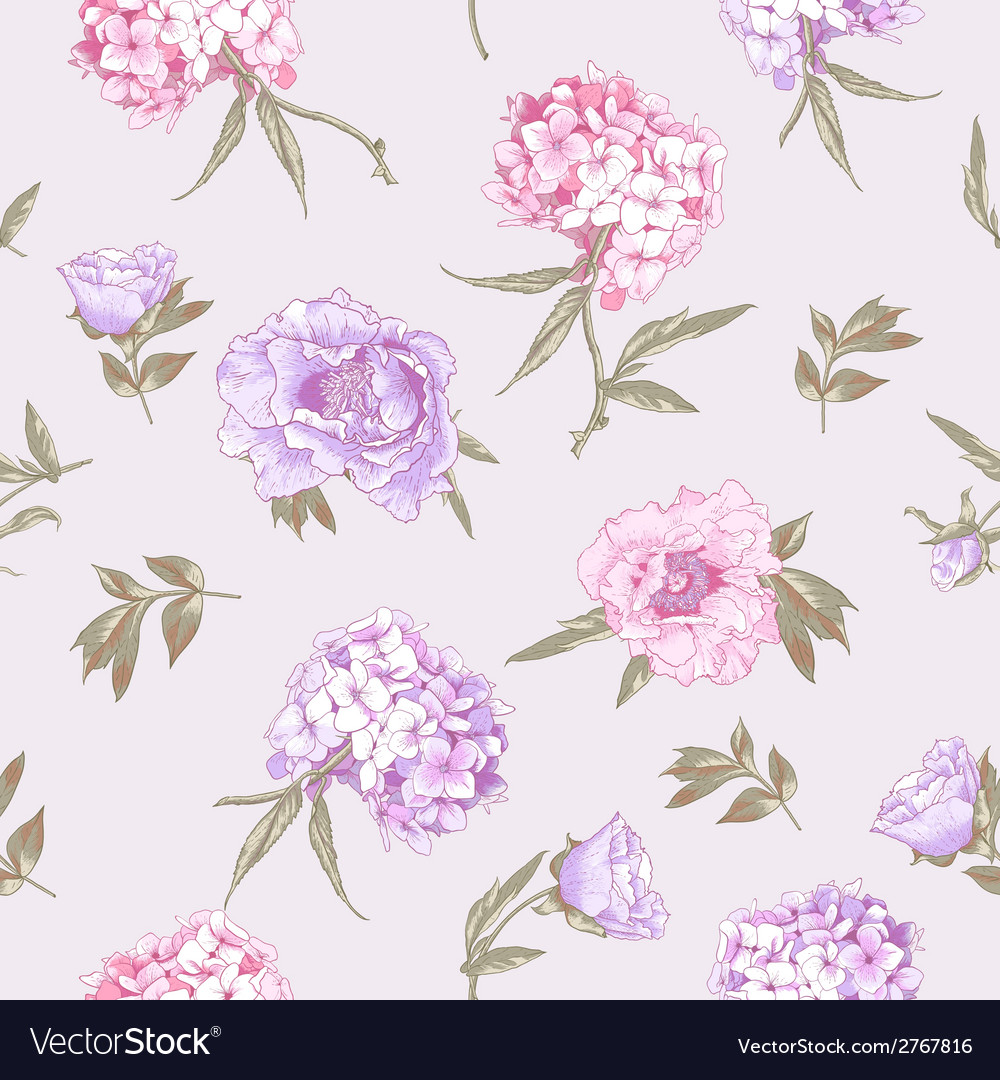 Seamless background with hydrangea and peonies vector