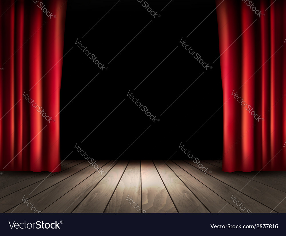 Ter stage with wooden floor and red curtains vector