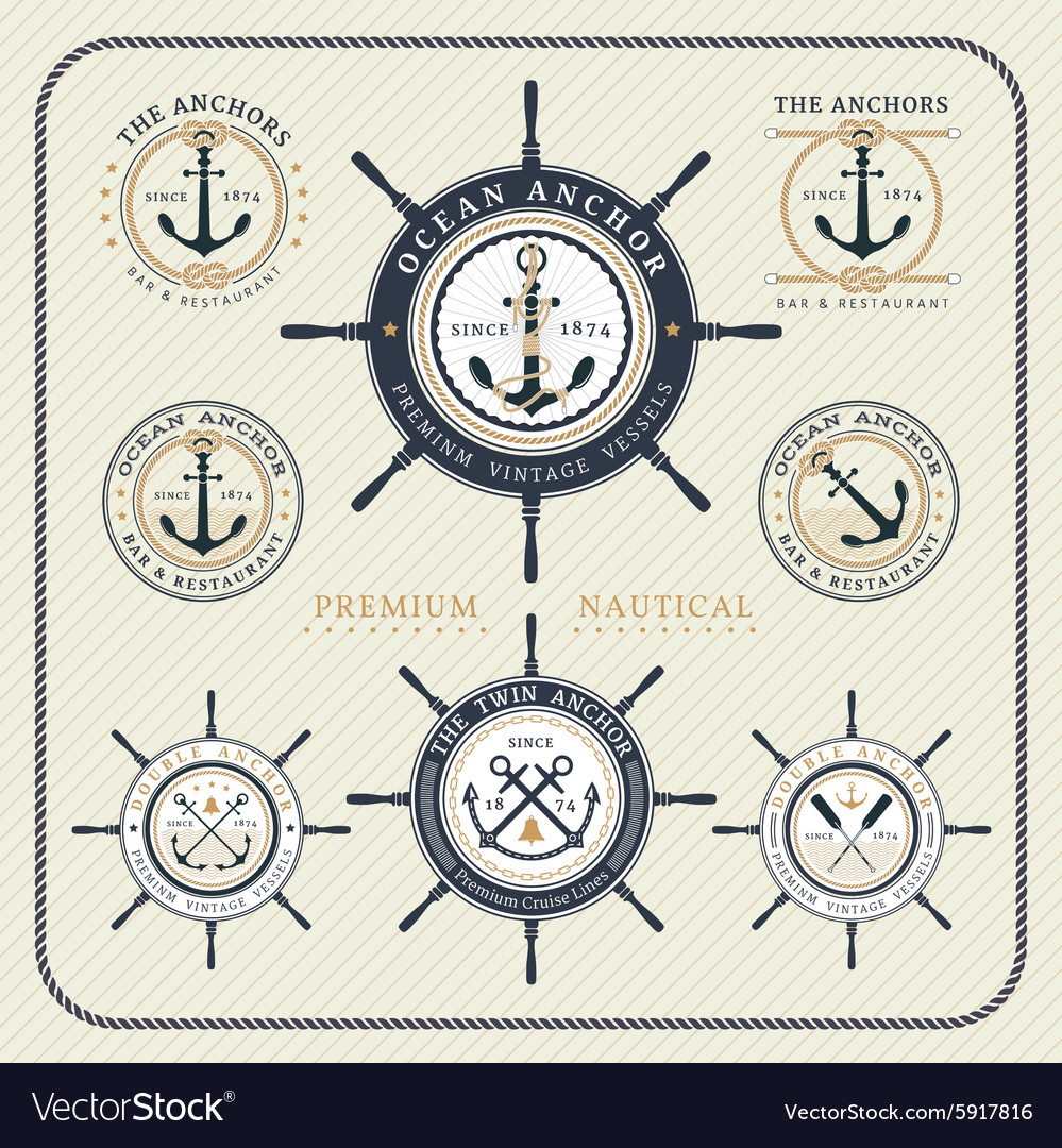 Vintage nautical steering wheel and anchor labels vector