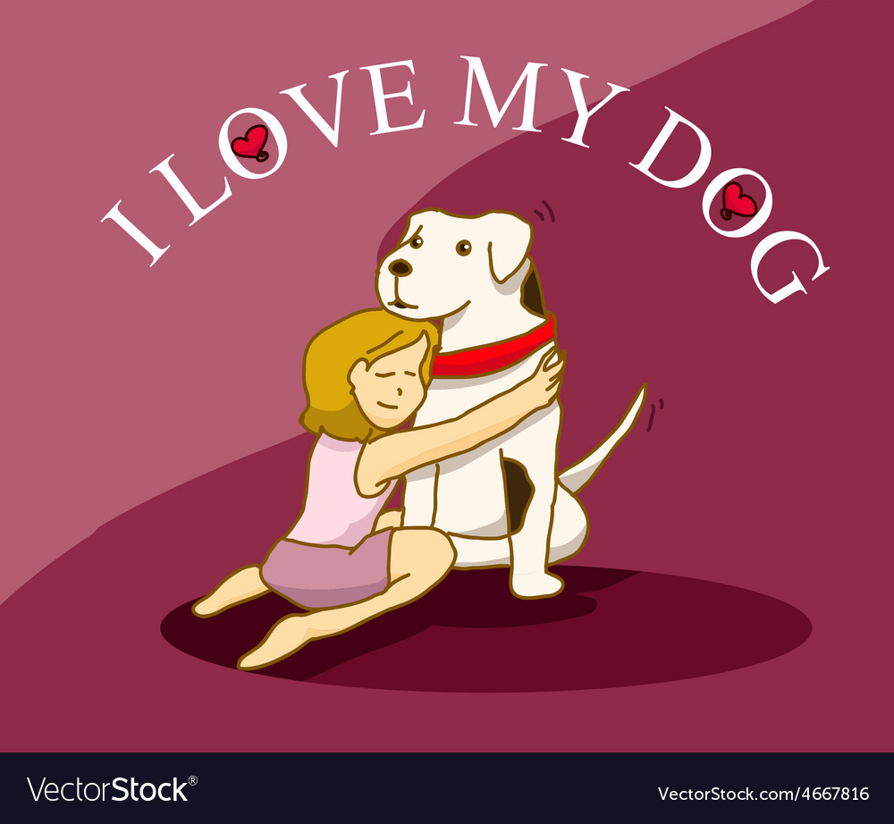 Woman hug her big dog vector