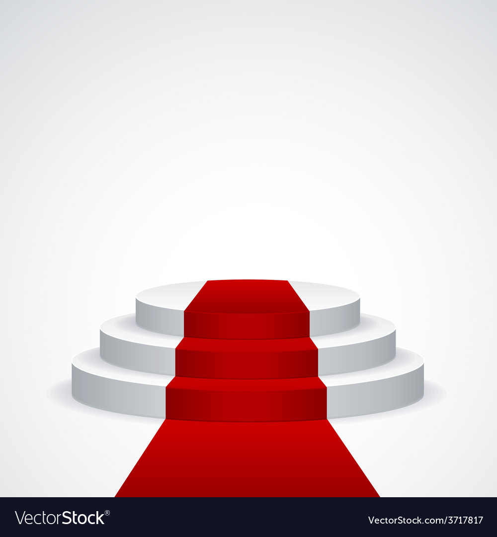 Podium with red carpet vector