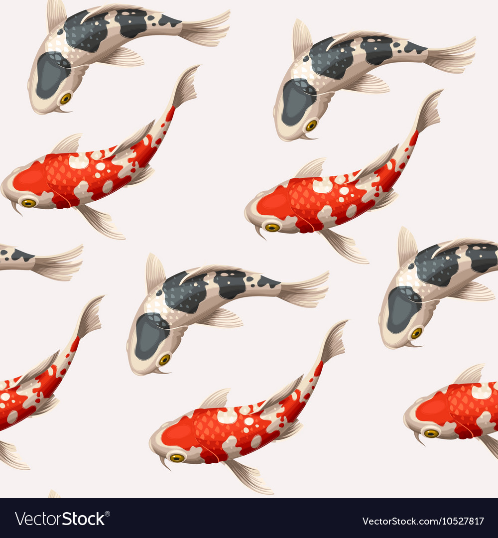 Seamless koi carps vector