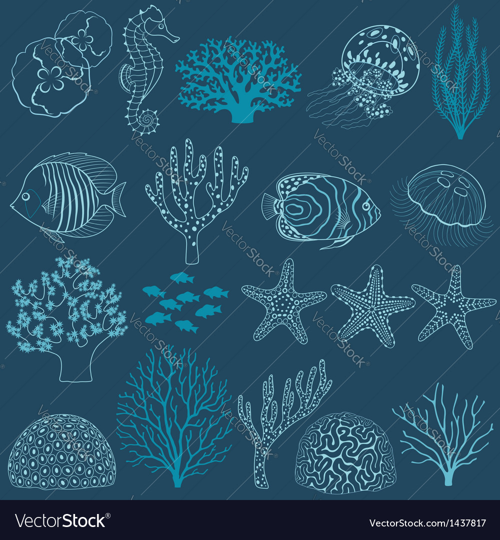 Underwater life design elements vector