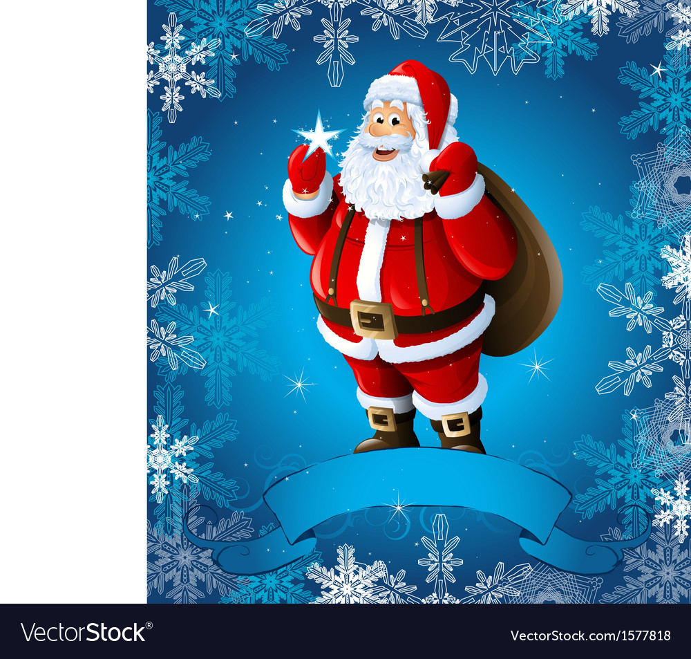 Blue christmas greeting card with santa claus vector