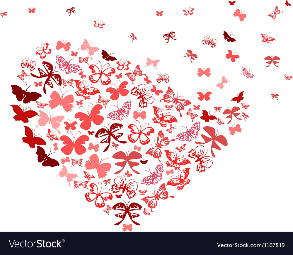 Red butterfly flying heart vector