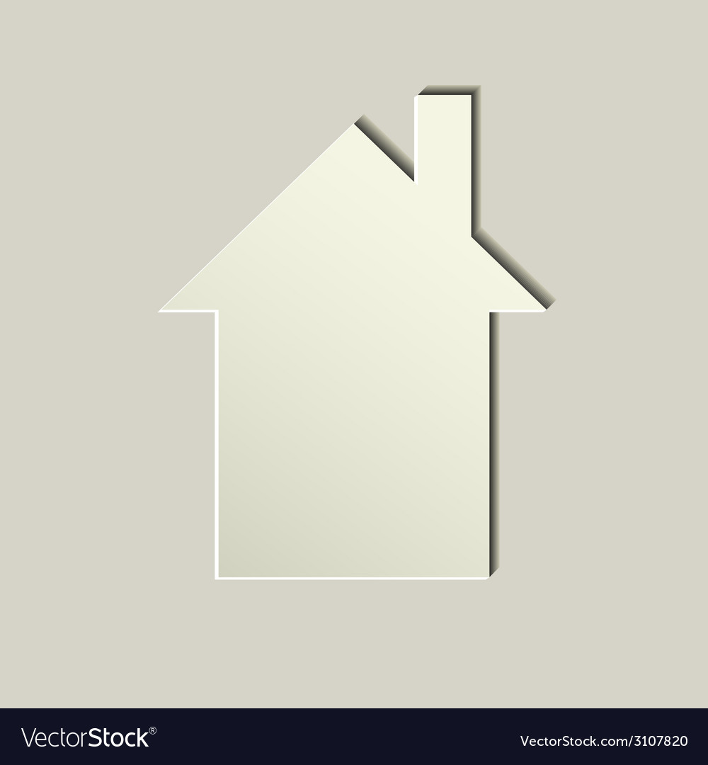 White paper house icon vector