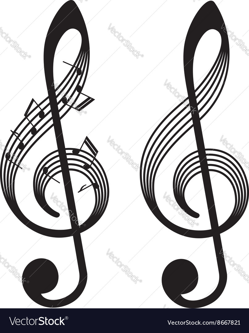 Abstract treble clefs music elements vector