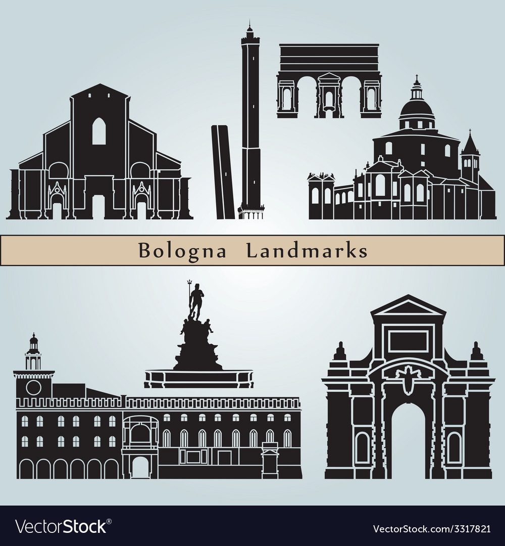 Bologna landmarks and monuments vector