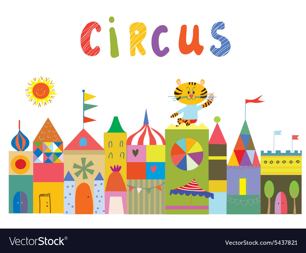 Circus background with funny builidngs animals and vector