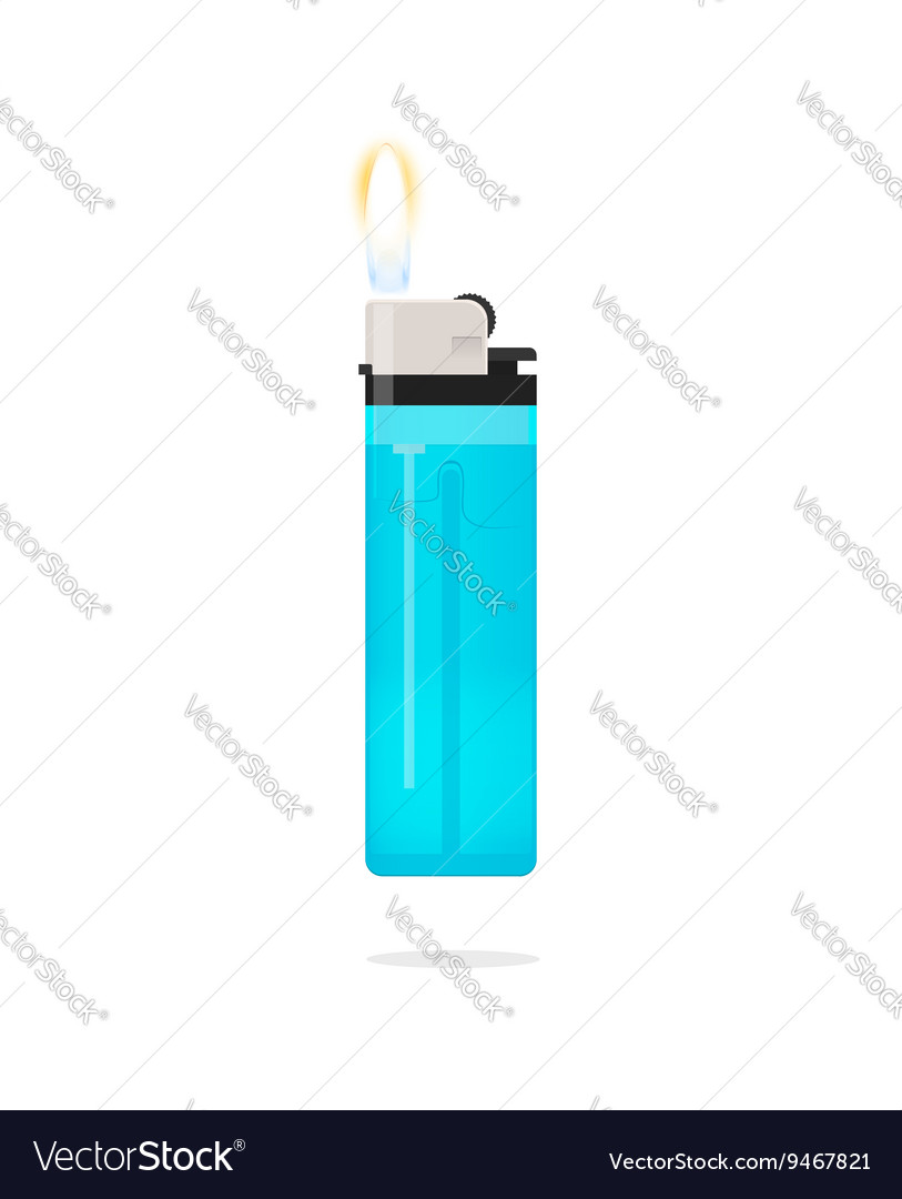 Lighter with flame icon isolated vector