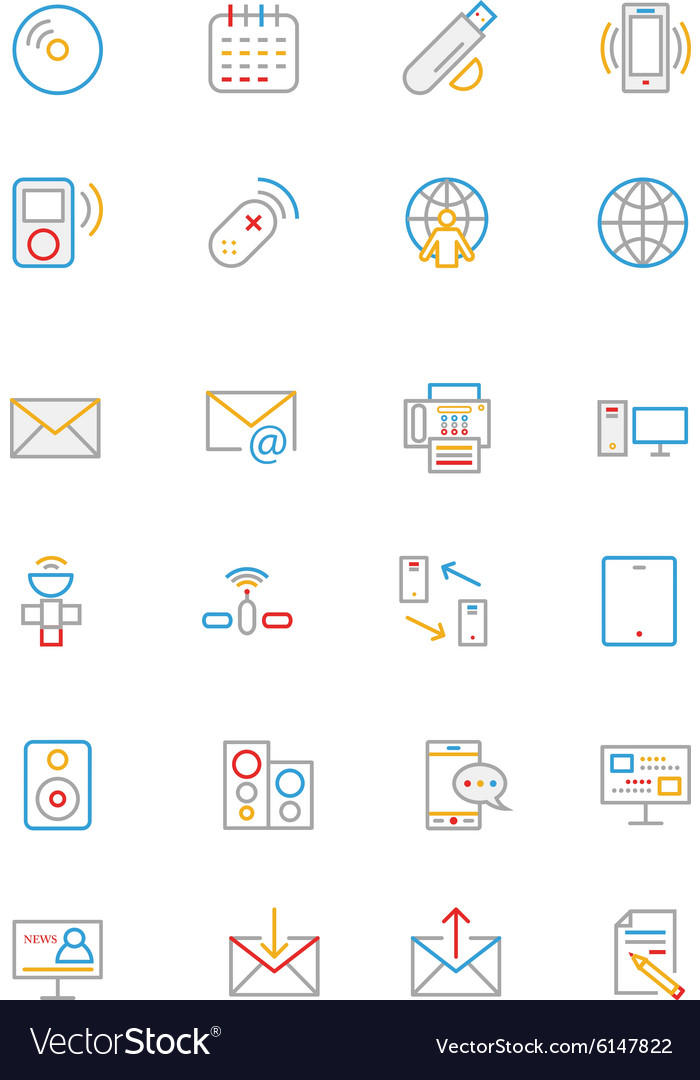 Communication colored outline icons 7 vector