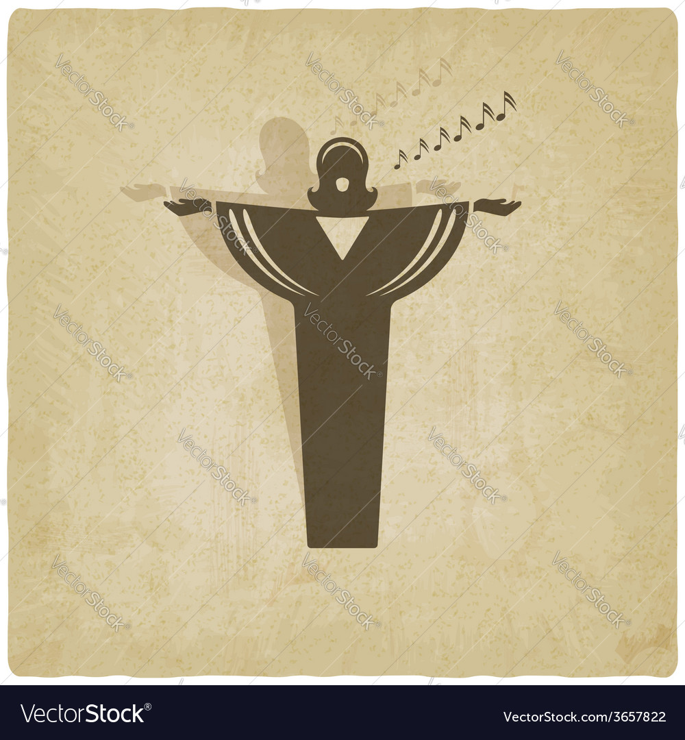 Opera singer symbol old background vector