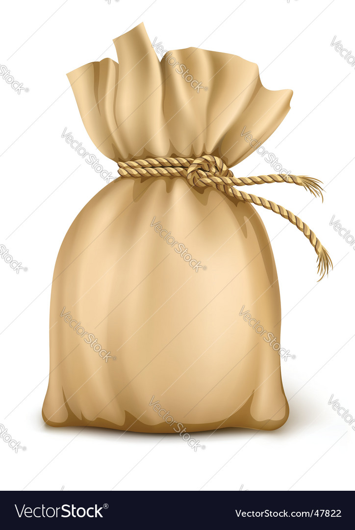 Sack wired by rope isolated vector