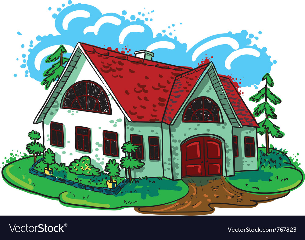 Sketchy doodle handdrawn house cottage vector