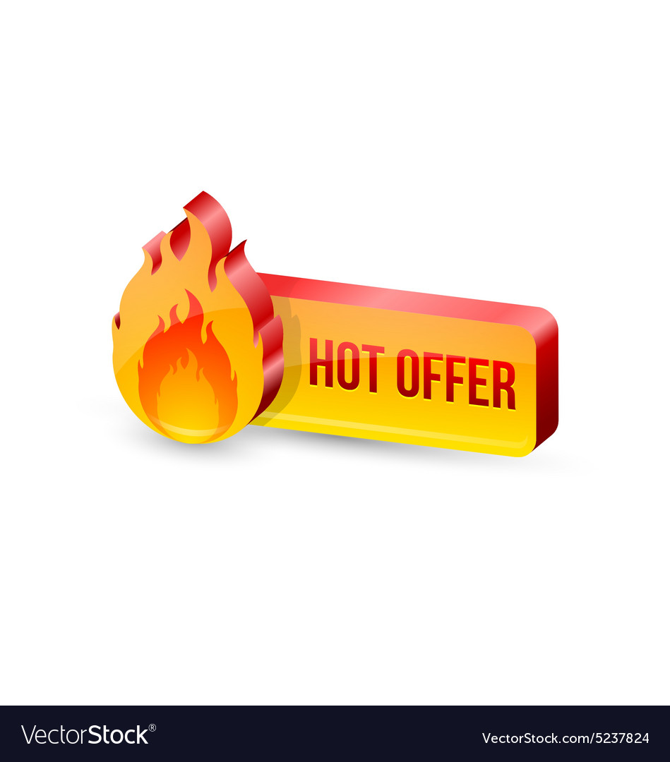 Glossy hot offer icon and button vector