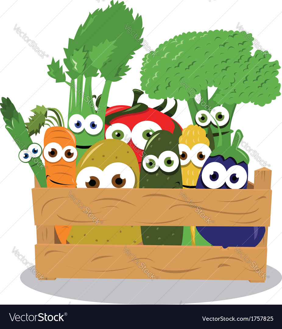 Funny veggies in a wooden box vector