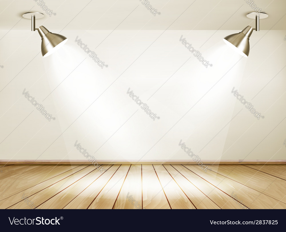 Showroom with wooden floor and two lights vector