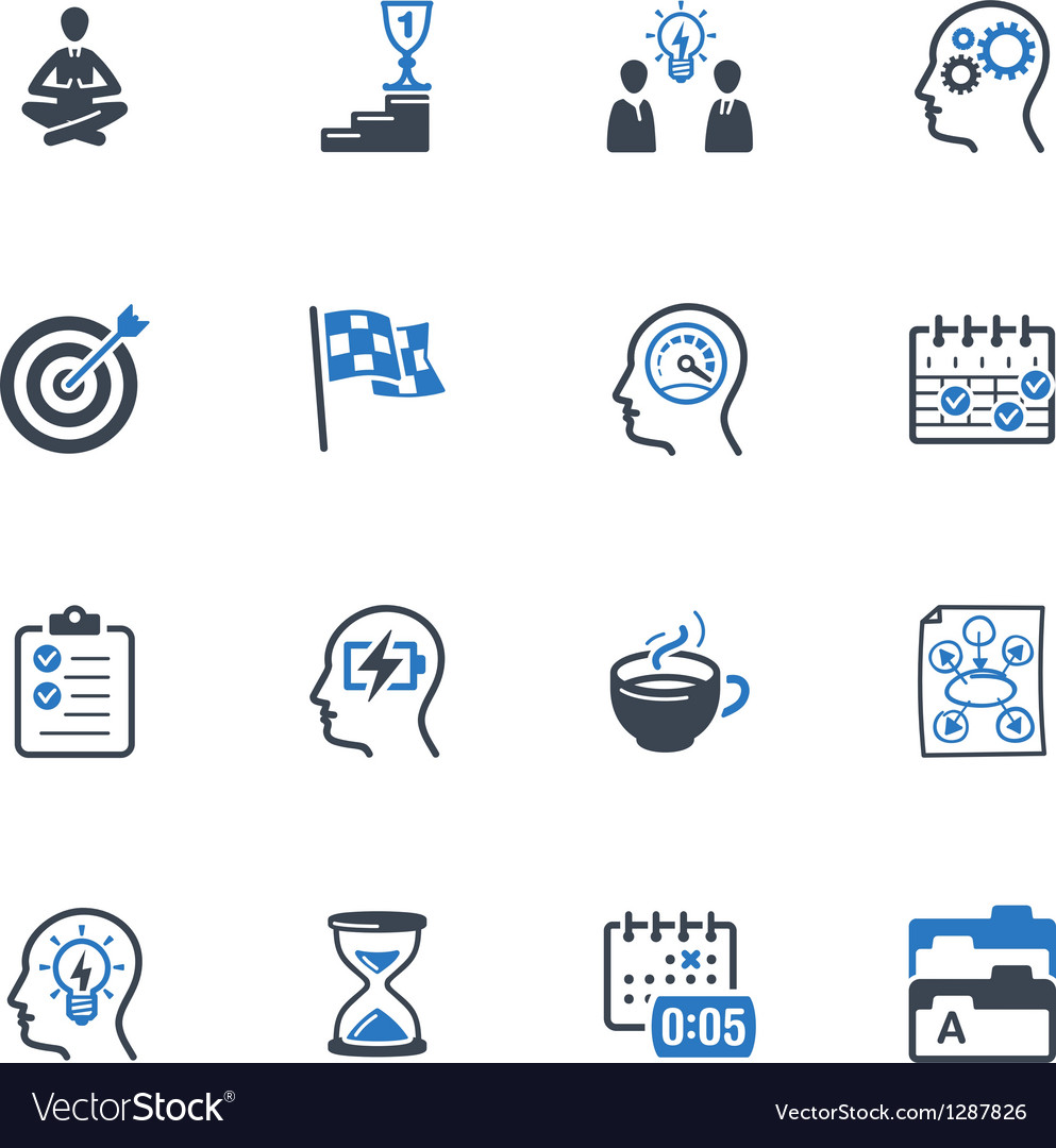 Productive at work icons  blue series vector