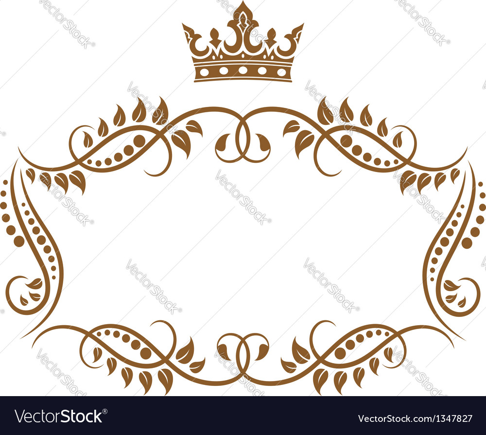 Elegant royal medieval frame with crown vector