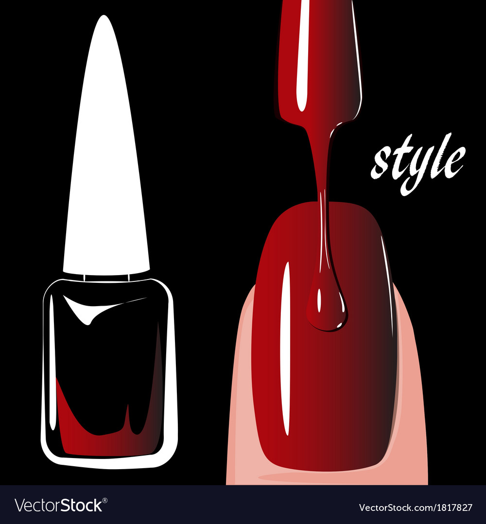 Nail polish red on black background vector