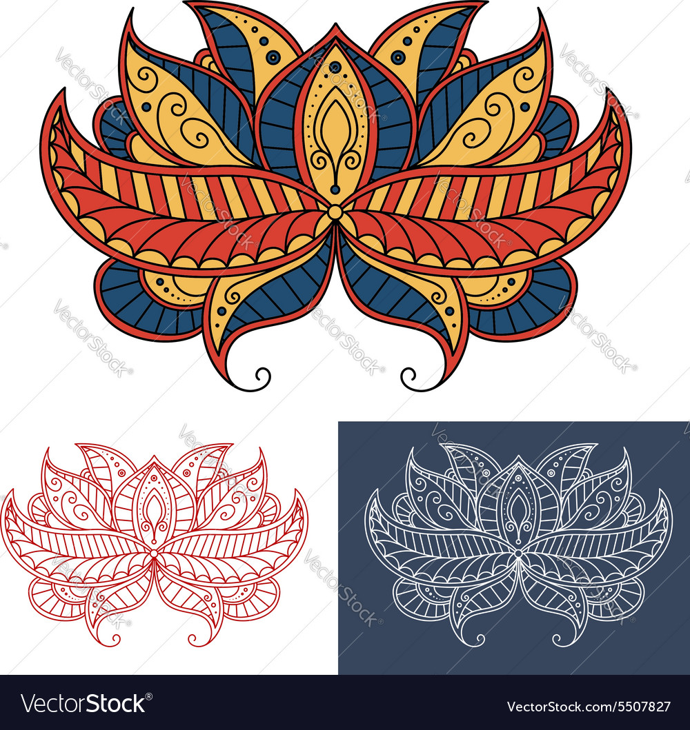 Persian paisley flower with curving lines vector