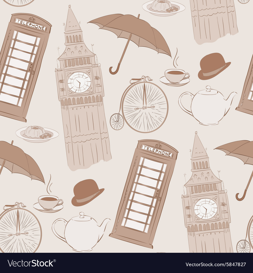 Retro hand drawn london pattern vector