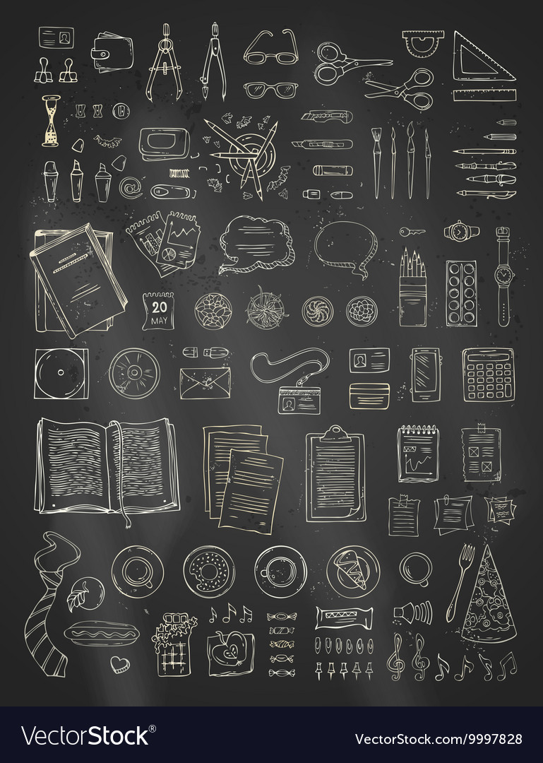 Chalk scene creator set on blackboard background vector