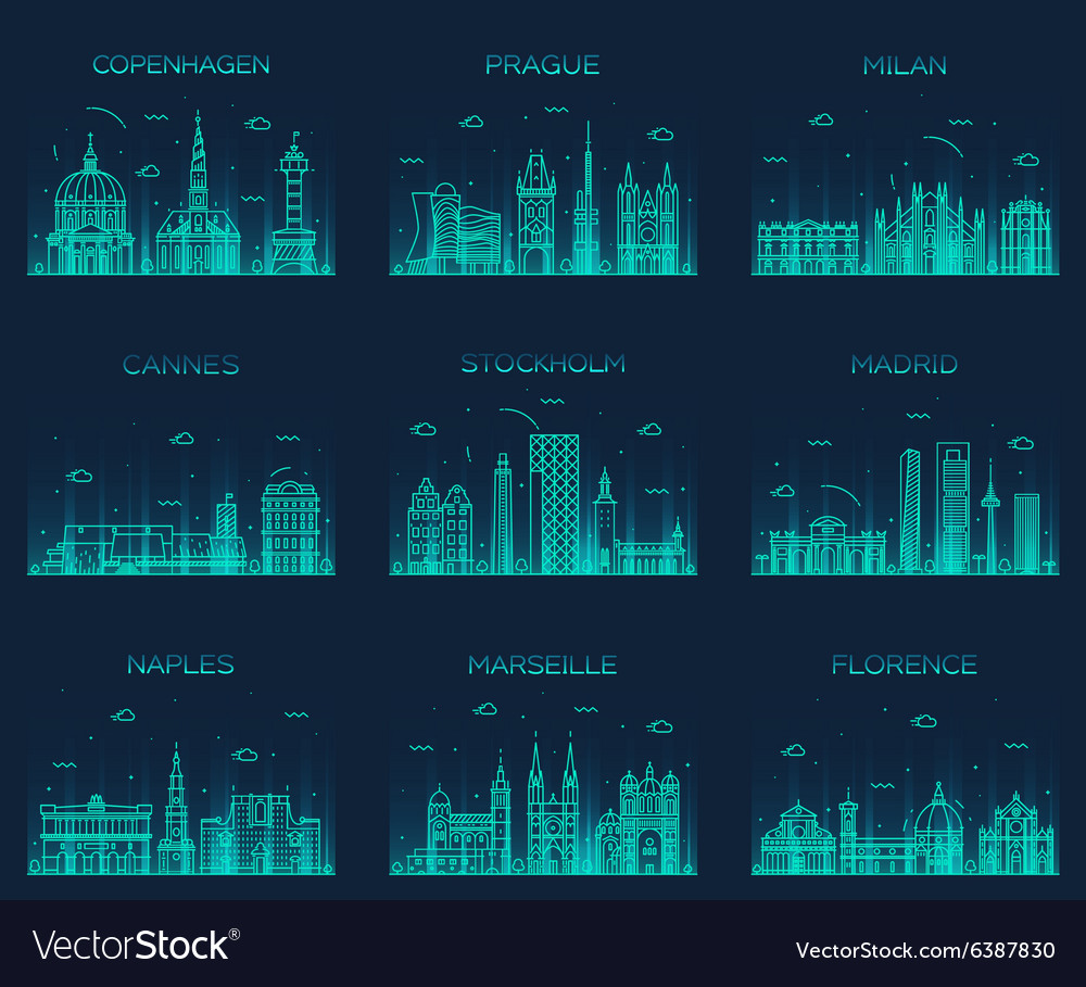 Europe skylines prague cannes madrid line art vector
