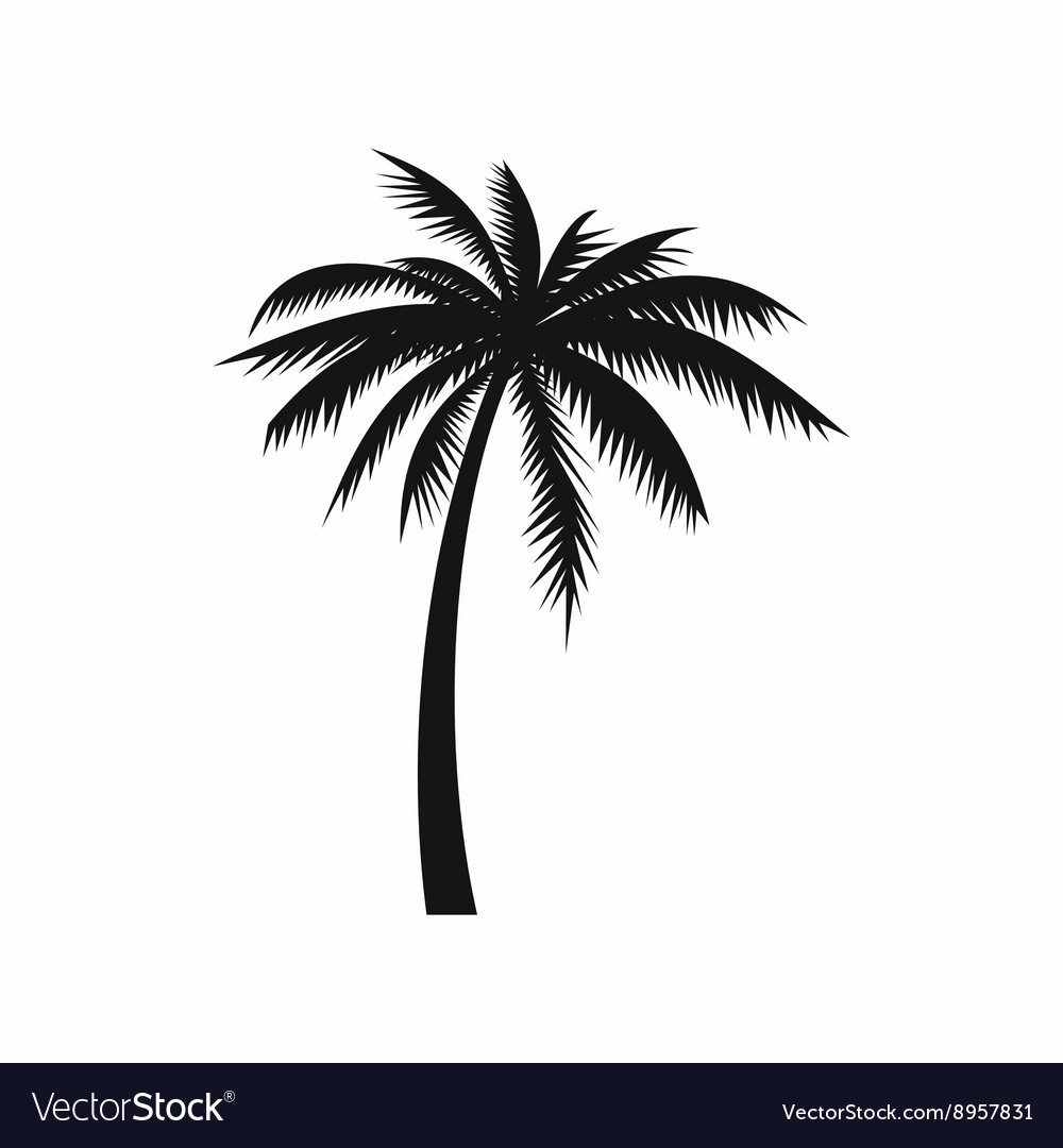 Coconut palm tree icon simple style vector