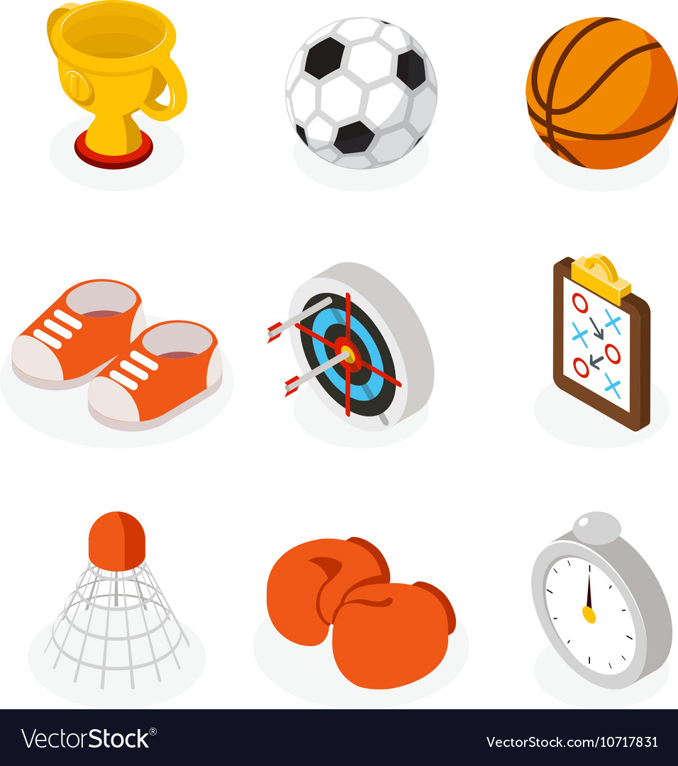 Isometric sport flat icons vector