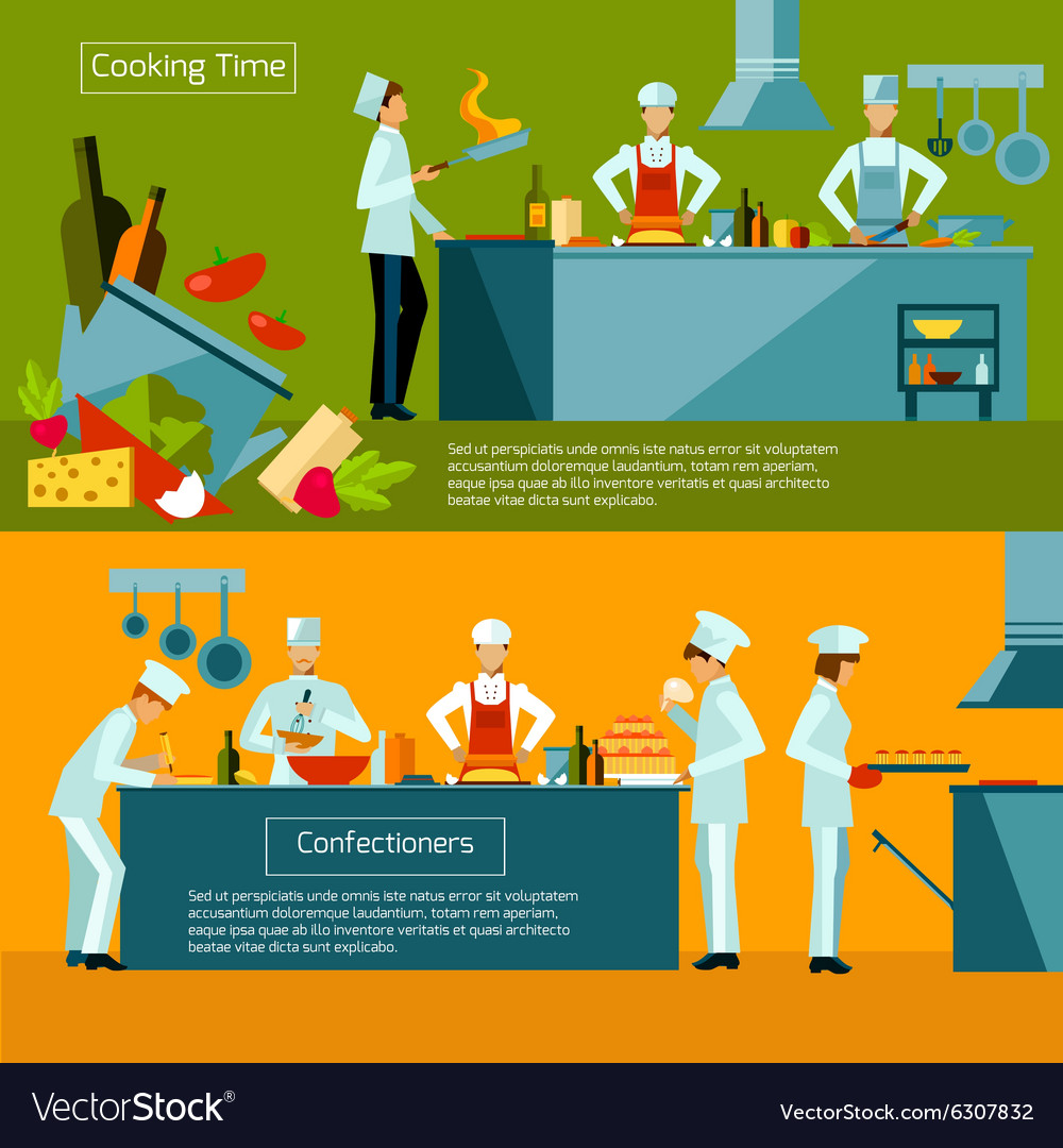 Cooking banner set vector