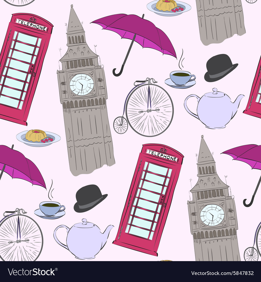 Hand drawn london pattern vector